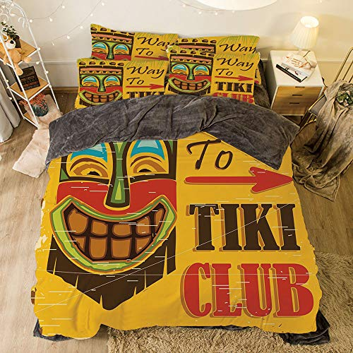 Flannel 4 Pieces on The Bed Duvet Cover Set for Bed Width 6.6ft Pattern by,Tiki Bar Decor,Way to Tiki Club Vintage Poster Design Grunge Polynesian Exotic Retro Print Decorative,Multicolor