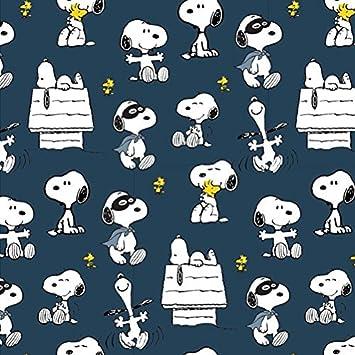 Jersey plástico The Peanuts Snoopy Indigo Azul – 150 cm de Ancho – 50 cm por