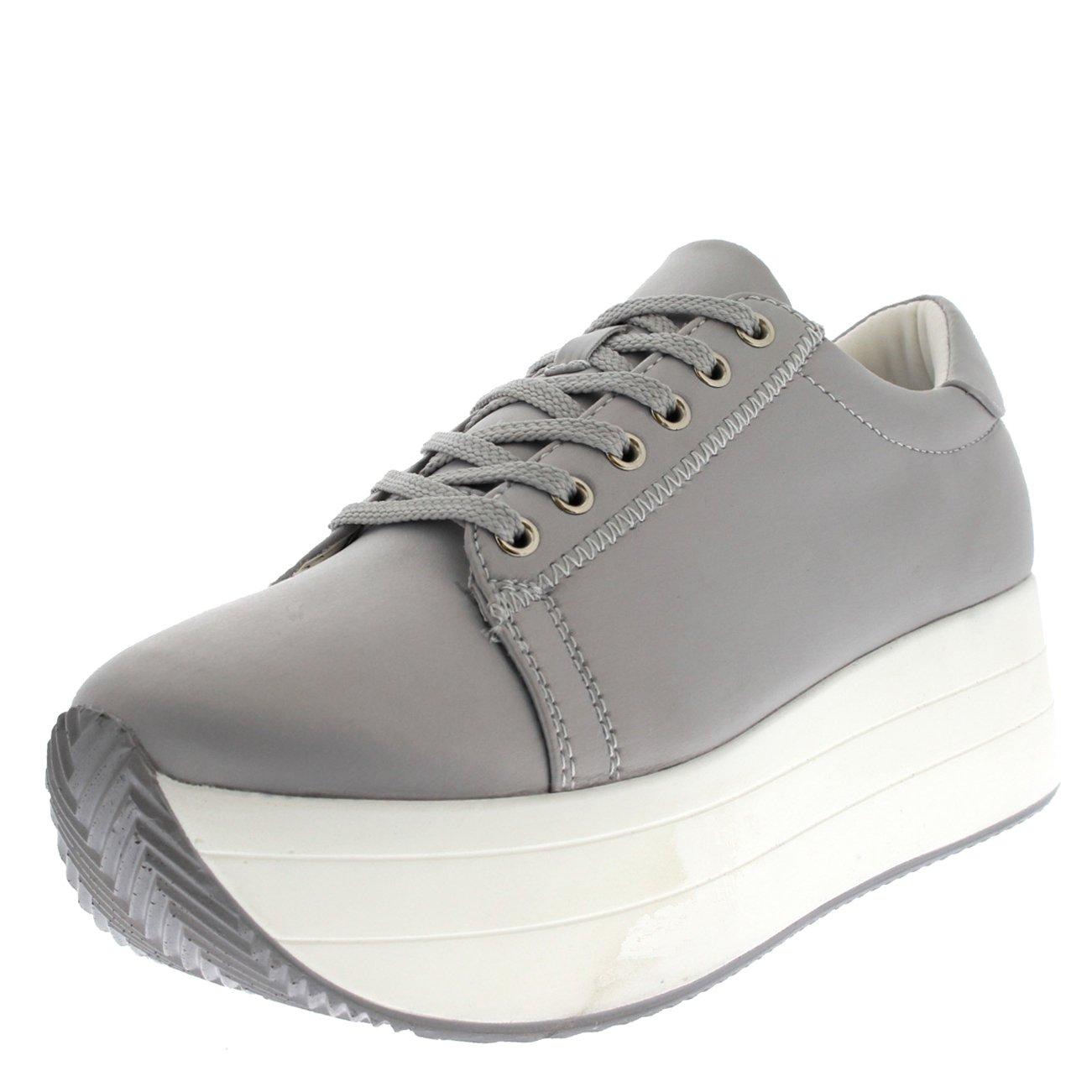 Womens Summer Chic Festival Casual Fashion Platform Wedge Heel Sneakers B071X9SC9H 5 B(M) US|Gray/White