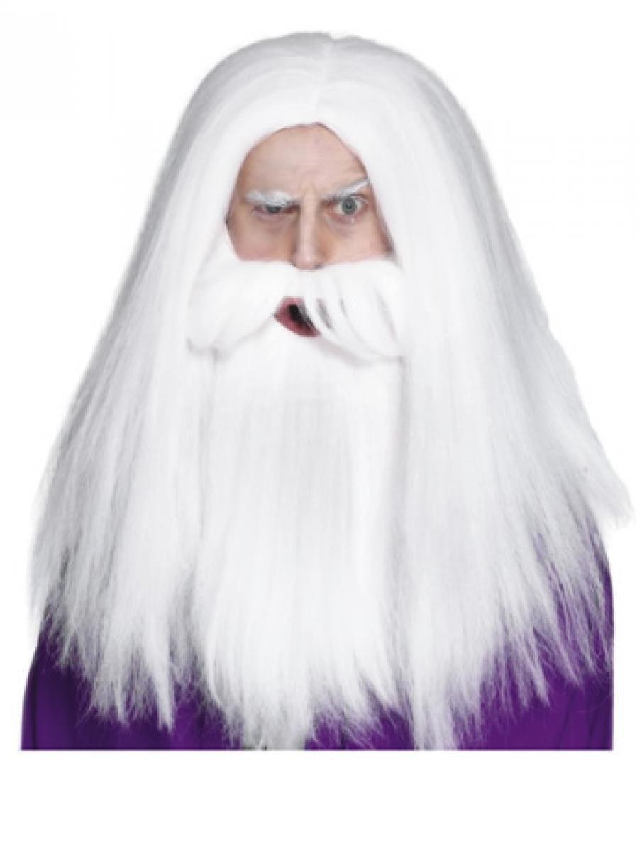 ZAUBERER MERLIN Perücke mit Bart Kostüm Gandalf Magier Hexer Perrücke Fasching