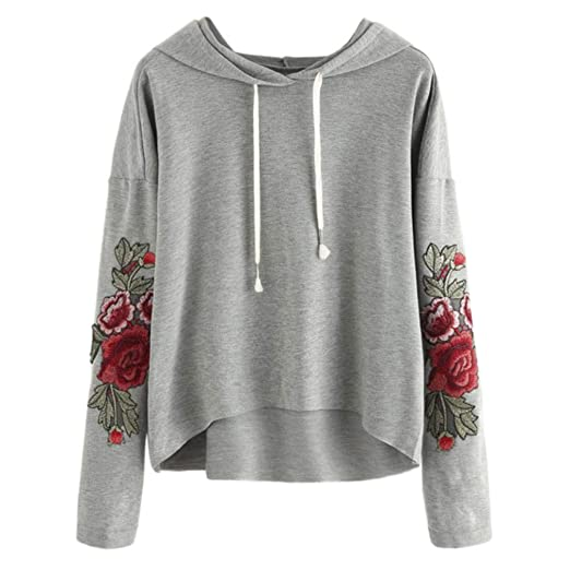 e37416c57cd8a7 URIBAKE Women Applique Sweatshirt Long Sleeve Blouse Hooded Pullover  Ladies' Tops Tee Shirt Floral at Amazon Women's Clothing store: