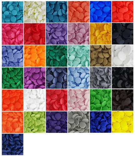 370 Sets 37-Color Lead-Tested Professional-Grade ''The Original'' KAMsnaps Size 20 T5 KAM Snap Plastic Fasteners Punch Poppers Closures No-Sew Buttons by KAMsnaps