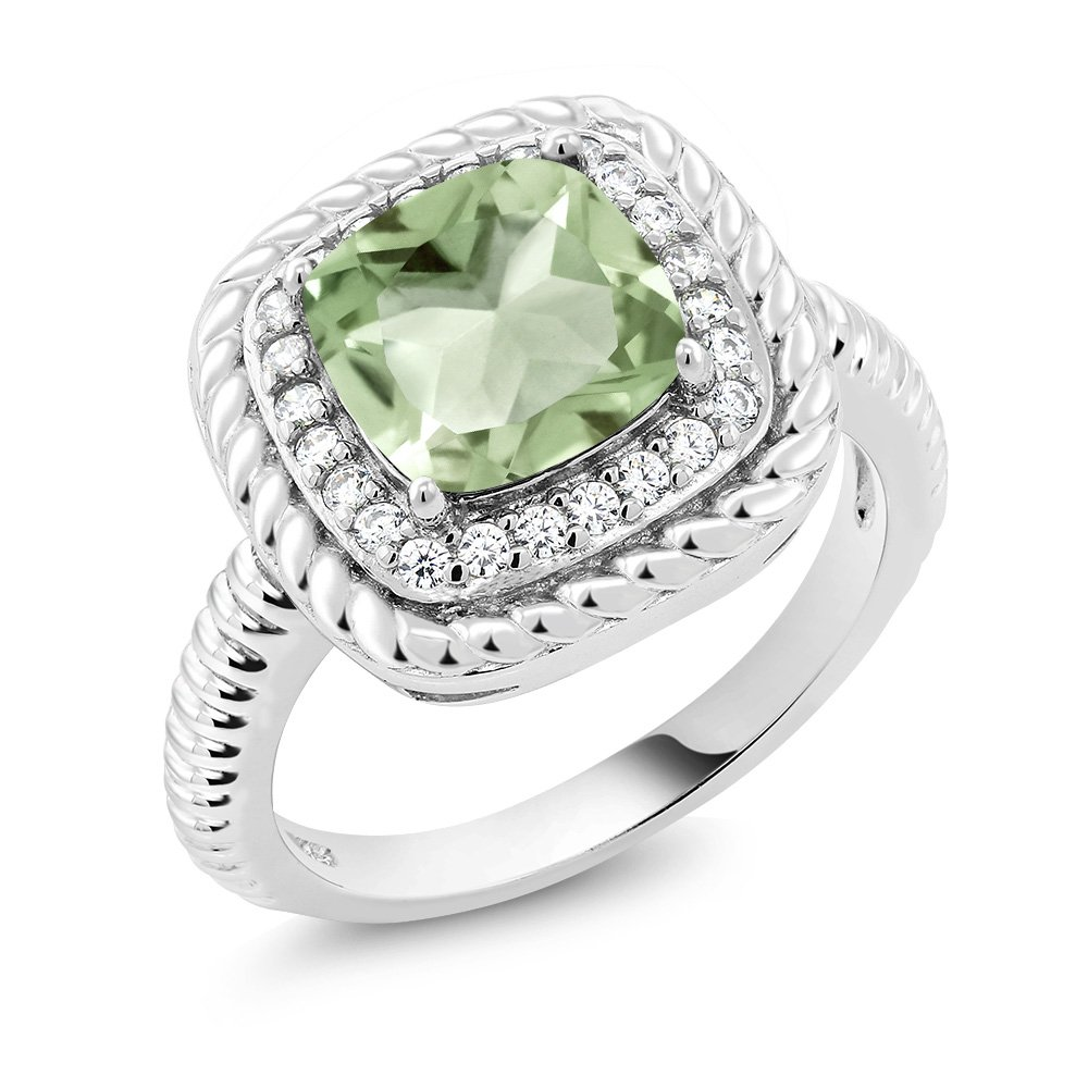 925 Sterling Silver Green Prasiolite Engagement Ring (2.05 Ct Cushion Cut Gemstone Birthstone Available in size 5, 6, 7, 8, 9)