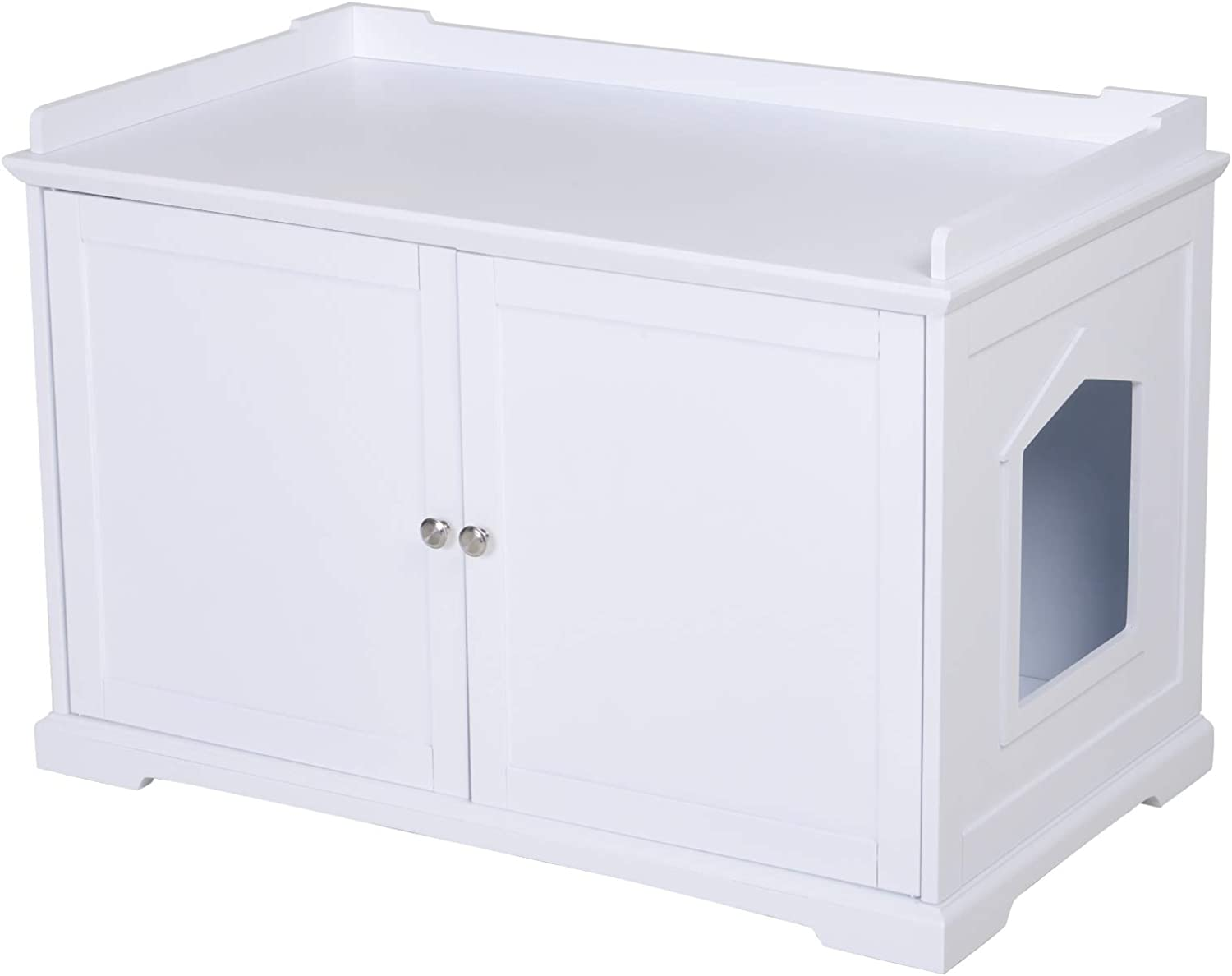 """PawHut 23"""" Wooden Covered Mess Free Cat Litter Box End Table Hideaway Cabinet with Storage - White"""