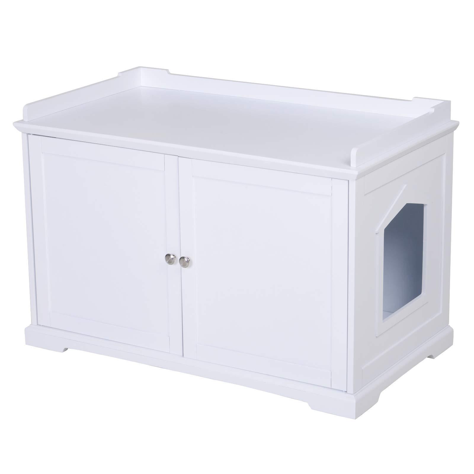 PawHut 23'' Wooden Covered Mess Free Cat Litter Box End Table Hideaway Cabinet with Storage - White by PawHut