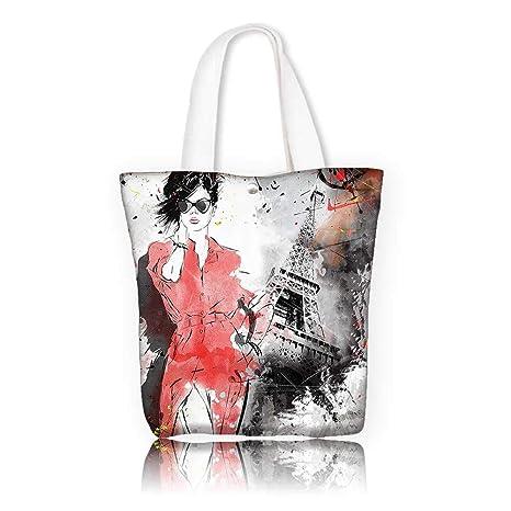 8321b5c2ecce Amazon.com  Canvas Tote Bag -W16.5 x H14 x D7 INCH Reusable Canvas ...