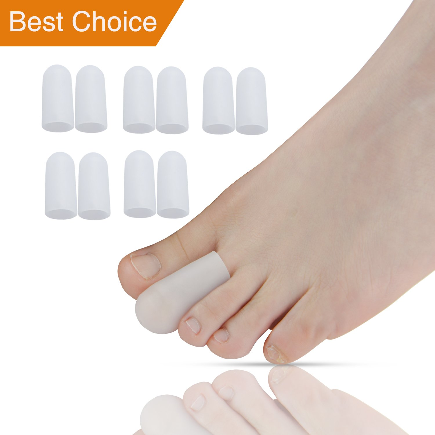 Sumifun 10 Pcs/Bag Toe Protector For Foot Corns Remover and Reduce Blisters & Callus, Silicone Gel Soft Finger Toe Caps Sleeves, Foot Bunion Pain Relief and Hammer Toes Foot Care Tools by Sumifun B01FJZLOVE