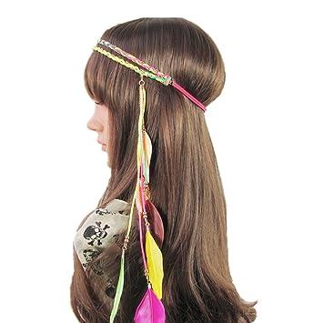 0dddd140bad753 Amorar Feder Hippie Stirnband Zubehör, Perlen geflochten Strand Haar Kopf  Band Stirnband Prop Kopfschmuck,