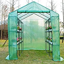 Outsunny 8'x6'x7' Walk-in Large Garden Portable Greenhouse Pop up Flower Plant Greenhouse with Shelves