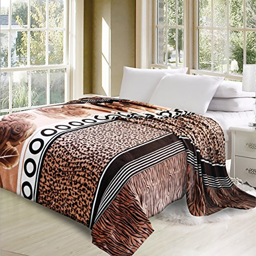 """Luxurious Oversized Printed Super Soft Plush Flannel Blanket , Silky Throw in Full/Queen Size (79""""x87"""", F06-Fur and Flower)"""