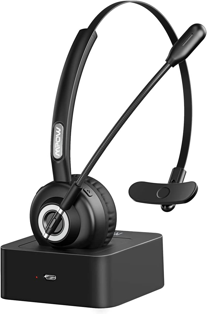 Mpow Bluetooth Headset with Charging Station, Hands-Free Headsets with Stereo Noise Canceling Microphone, 17+ Working Hrs Over-The-Head Bluetooth Headphones for Trucker Drivers/Call Center/Office