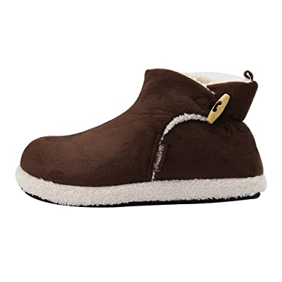 b744d6374681 KENROLL Mens Warmer Velvet Lined Suede Winter Indoor House Slipper Boots  Ladies Slouch Shoes (6.5-7