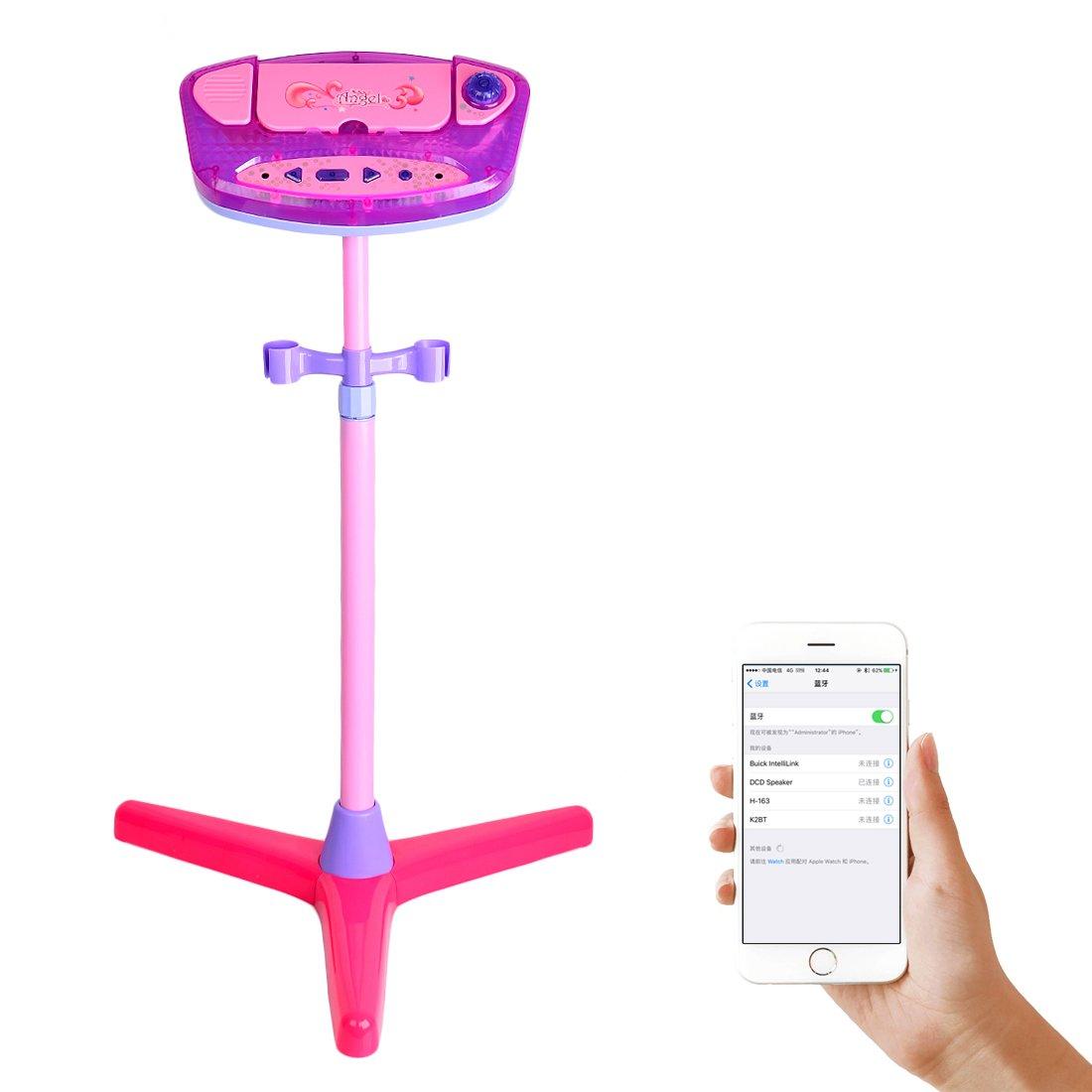 UOPJKL Kinder Karaoke Mikrofon mit Verstellbarer Standfuß und 2 Microphone Kinder Karaoke Maschine mit Bluetooth für Kinder Kleinkind (Rosa)