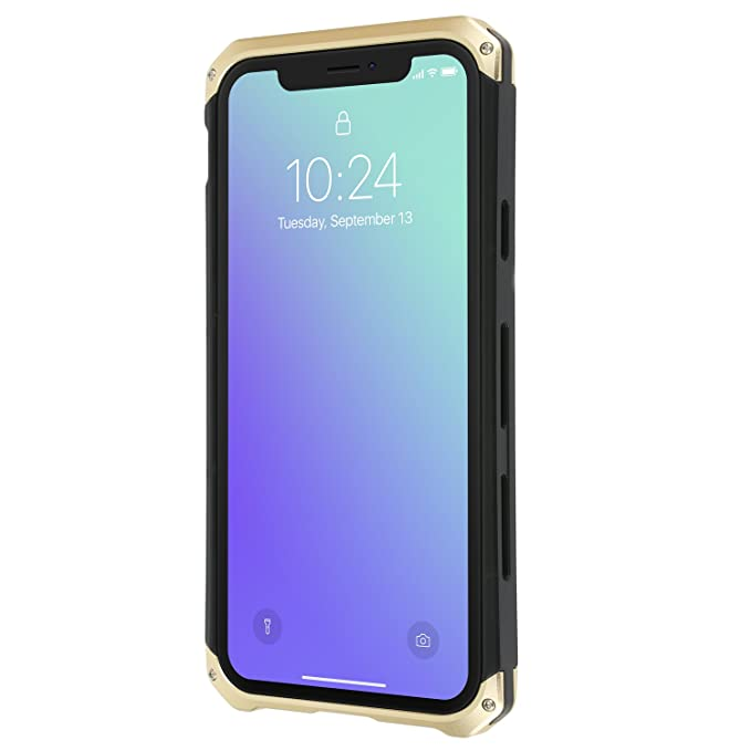 the best attitude f02ac 155bd iPhone X Case Gold Protective Aircraft Bumper Metal Screw Cell Phone Case  with Transparent Back Tempered Glass Wireless Charging Allowed and No ...
