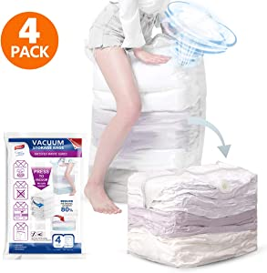 Cube Vacuum Storage Bags, 4 Super Jumbo Space Bags 31x 40x15 inch, No Hand Pump Needed for Travel, Compressed Storage Bags for Clothes, Duvet, Towel, Comforter, Pillow, Bedding, Blanket
