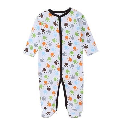QHGstore Bebé recién nacido durmiente lindo pequeña huella de patas pijama de manga vestido de una
