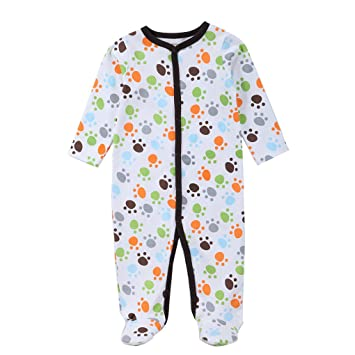 Chilie Baby Footed Pajamas Sleep Cotton Button Front Long Sleeve Cute Small Footprint Newborn Boy Garment