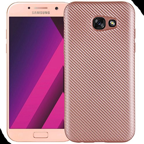 Galaxy 2017 A7 Soft Case, Awesome Carbon Fiber Twill Style Ultra Hybrid Thin Cover, WEIFA Cool Ultralight Slim Anti-Scratch Phone Case for Samsung Galaxy A720 Rosegold