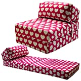 Gilda JAZZ CHAIRBED - KIDS PRINTS Deluxe Single Chair z Bed Futon (Pink Hearts)