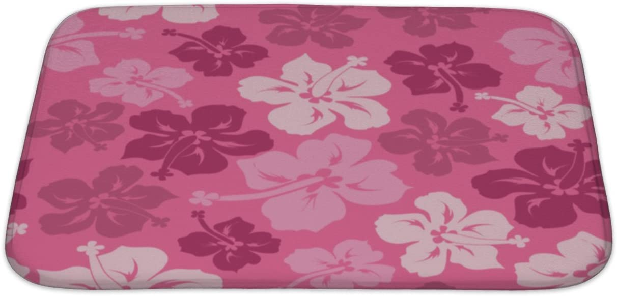 Amazon Com Gear New Floral Of Hawaiian Hibiscus Bath Mat Rug Microfiber Memory Foam With No Skid Back 34 X21 Gn23720 Home Kitchen