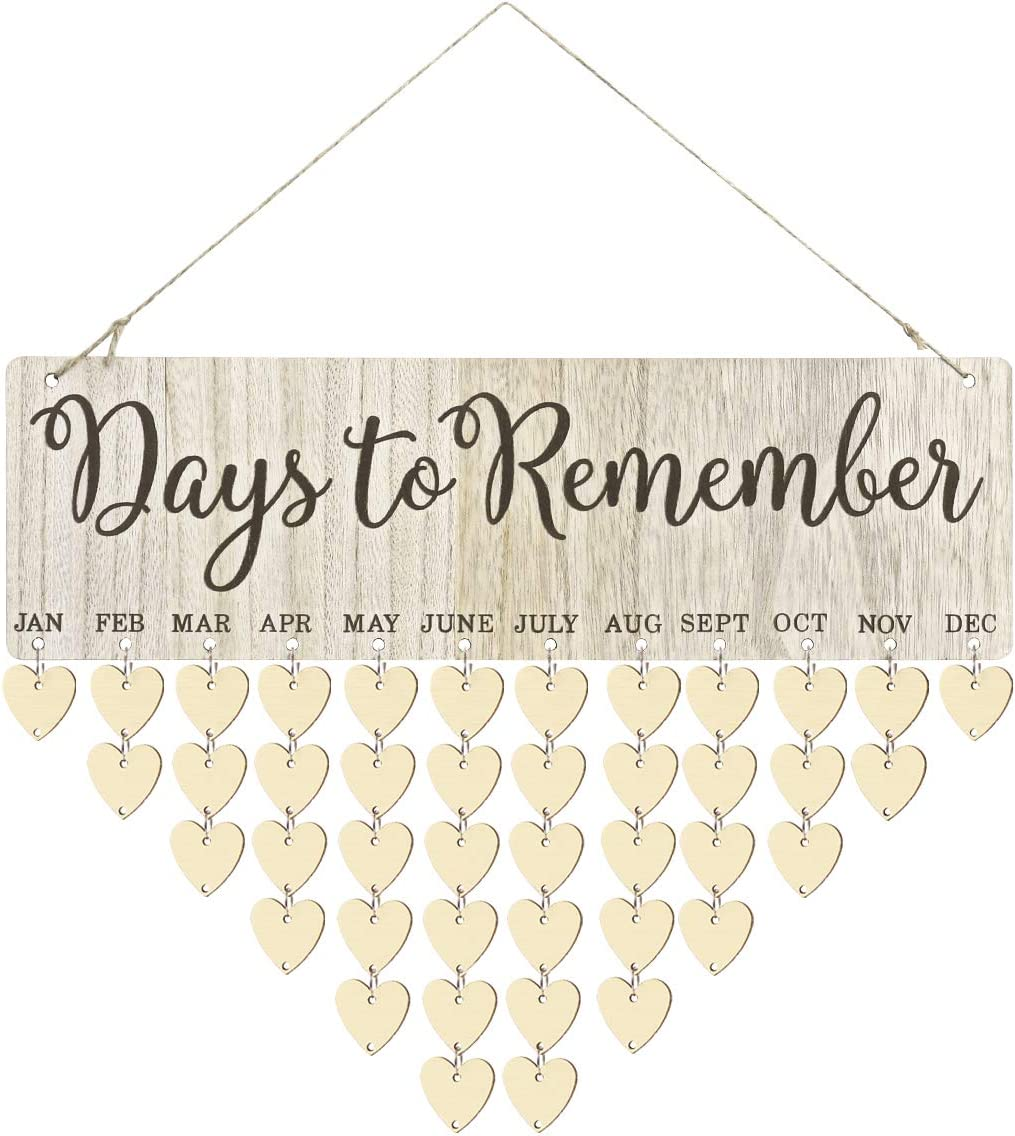 Amosfun Birthday Plaque Family Birthday Calendar Wooden Crafts Wall Hanging Plaque Board for Family Friends Birthday Reminder Wooden DIY Discs Hanging