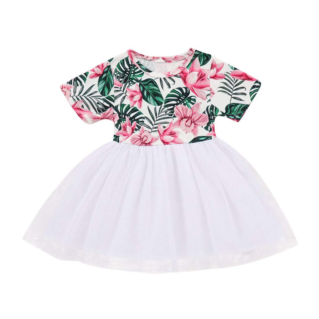 Kingspinner Girls Dress Short Sleeve Flower Lace Party Princess Dress 1-4 Years (Green, 12-18 Months)