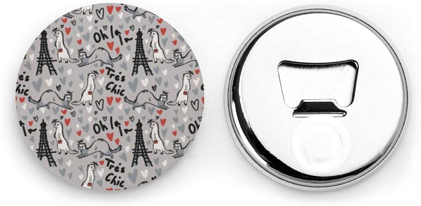 Abridores de botellas redondos de hurones modelo de moda francesa / imanes de nevera sacacorchos de acero inoxidable pegatina magnética 2 uds