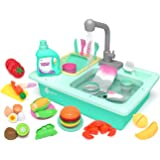 KIDPAR 28 Pcs Color Changing Kitchen Play Sink Toys for Kids Toddler Electric Dishwasher with Running Water, Automatic Water