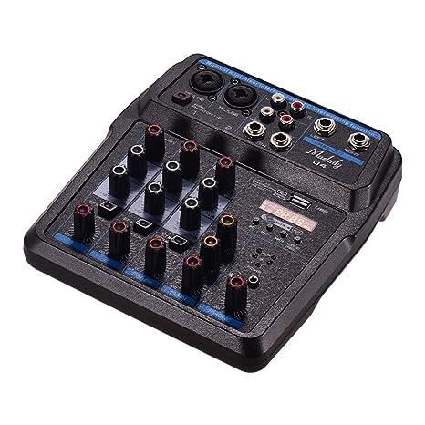Muslady U4 Mezclador de audio portátil de 4 canales BT USB ...