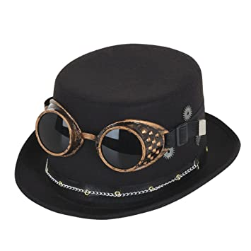 7e9dcf197e5f9 Bristol Novelty BH673 Steampunk Top Hat with Goggles and Gears, Mens,  Black, One Size