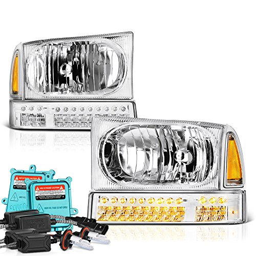 VIPMotoZ 1999-2004 Ford F-250 F-350 Superduty Excursion Headlights - Built In Xenon HID Low Beam, Metallic Chrome Housing, LED Daytime Running Lamp Strips, Driver and Passenger Side