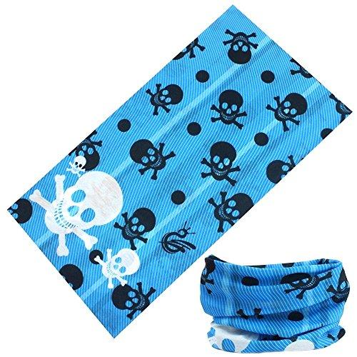 Neon Blue Skulls and Crossbones Face Gaiter Neck Tube Mask Motley Tubular Ski Bandana Dust, Sun Blocking Scarf Disguise Costume]()