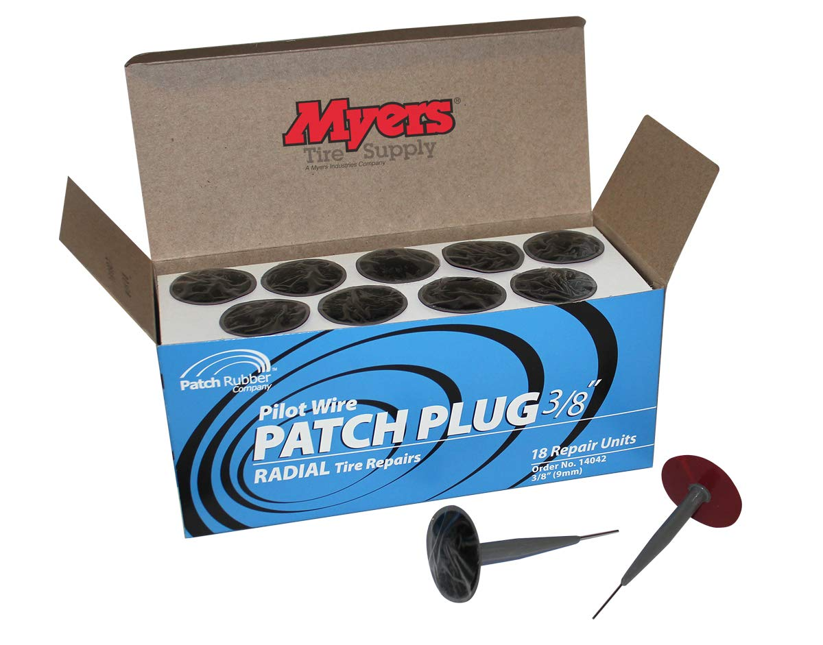 Patch Rubber Company 3/8'' Pilot Wire Patch Plugs with 1-3/4'' Diameter Patch, 18 Per Box Patch Rubber is Certified to ISO 9001 Quality Control Standards