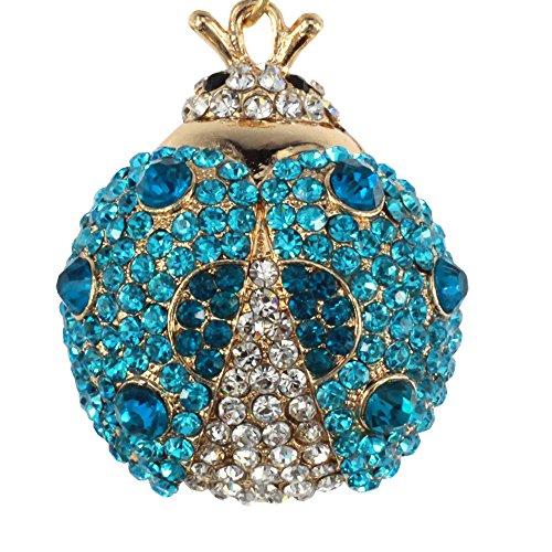 Bolbove Cute Big Ladybug Keychain Sparkling Keyring Rhinestones Purse Pendant Handbag Charm (Blue) Photo #4