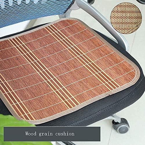 シートパッドチェアパッドブースタークッションコットンクッションベンチクッションチェアクッション、夏の麻雀ノンスリップカーバンブーシートクッション、クールで 四角形のオフィスチェアマットパッド(4個)