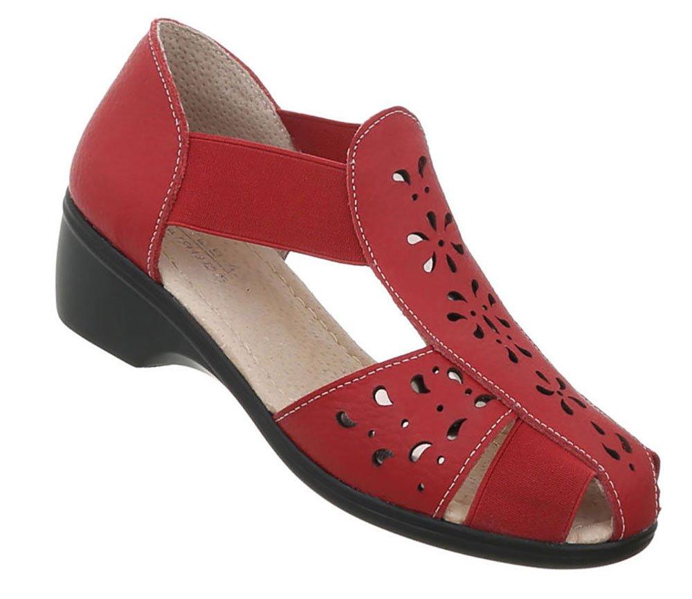 Damen Schuhe Sandalen Leder Pumps39 EU|Rot