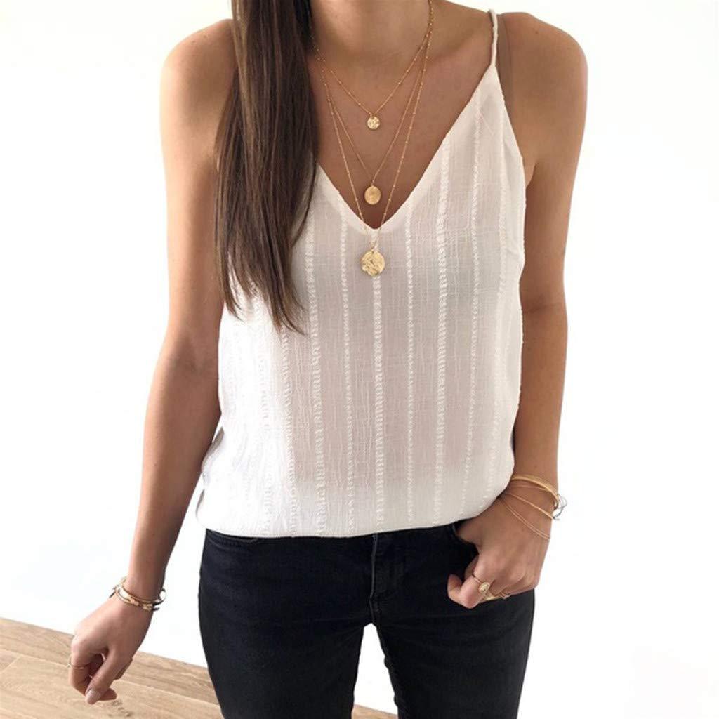 HIKO23 Summer Tank Tops for Women Sleeveless V-Neck Loose Fitting Vest Spaghetti Strap Camis Basic Camisole