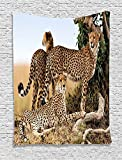 Custom Wildlife Decor Cheetahs Mother and Two Young Baby Looking for Food Dangerous Exotic Animals Tan Black Comfortable Supersoft Throw Fleece Blanket offers