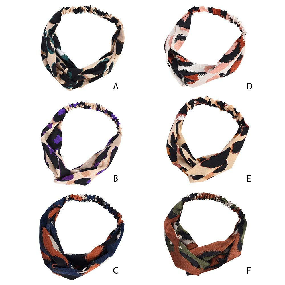 Headbands for Women Cute Twist Headband Criss Cross Head Wraps Boho Flower Printing Hair Band Bows Accessories (6Color)