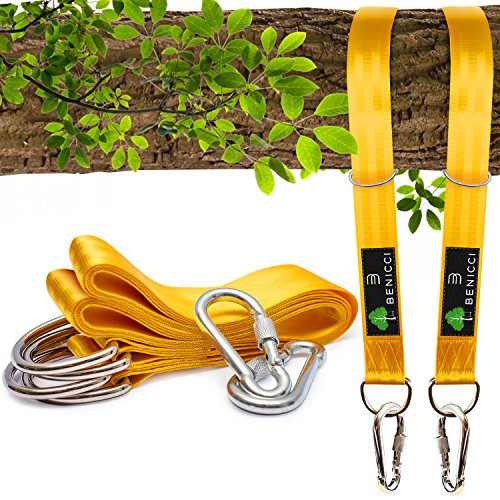 Benicci Tree Swing Straps Hanging Kit (Set of 2) - 10ft Long with Two Zinc Alloy Carabiners - 2000Lbs Break Strength - for All Type of Swings - Easy & Fast Installation