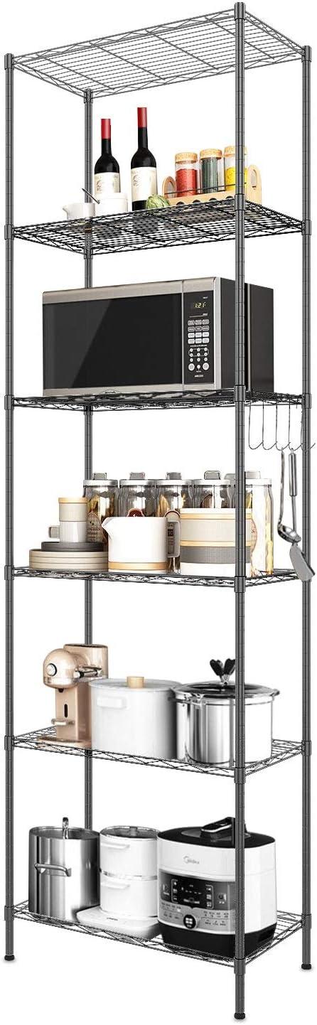 Devo 6-Shelf Wire Shelving Unit Storage Adjustable, Metal Storage Shelves Heavy Duty, Steel Organizer Rack for Kitchen/Garage/Bathroom/Laundry, Stainless Side Hooks, Black (21.3Lx11.4Wx63.0H)