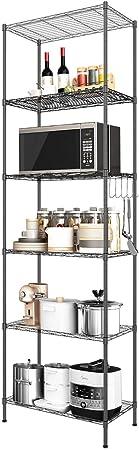 "Devo 6-Tier Wire Shelving Unit, Metal Shelves Heavy Duty Free Standing Shelf, Storage Shelves, Organizer Rack for Kitchen/Garage/Bathroom, 22"" L x 12"" W x 63"" H (Black): Amazon.co.uk: Kitchen & Home"