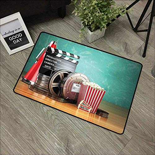 Slip Megaphone Dual - Meeting Room mat W16 x L24 INCH Movie Theater,Production Theme 3D Film Reels Clapperboard Tickets Popcorn and Megaphone,Multicolor with Non-Slip Backing Door Mat Carpet