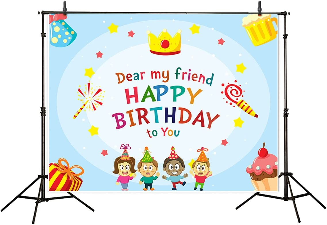 Funnytree 7x5ft Polyester Friendship Forever Theme Photography Backdrop Cartoon Background for Birthday Celebration