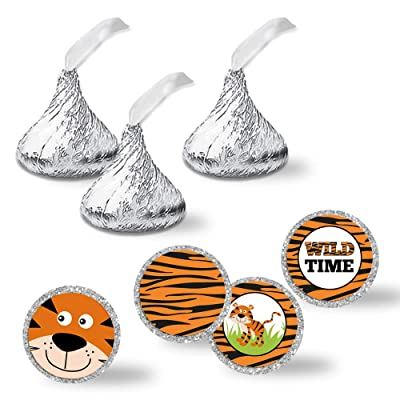 """Wild Time Tiger Print Birthday Party Kiss Sticker Labels, 300 Party Circle Sticker sized 0.75"""" for Chocolate Drop Kisses by AmandaCreation, Great for Party Favors, Envelope Seals & Goodie Bags: Toys & Games"""