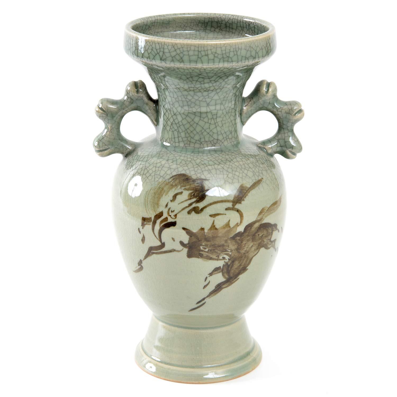 大堀相馬焼 松永窯 耳付き花瓶(中) 100×240mm 陶器 B07R6X1NVZ
