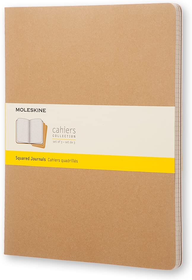 "Moleskine Cahier Journal, Soft Cover, XXL (8.5"" x 11"") Squared/Grid, Kraft Brown (Set of 3)"