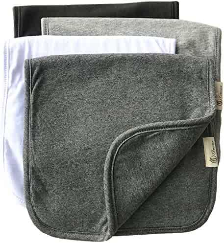 """Burp Cloths for Babies, Grey Black and White Set, 20"""" by 10"""" 3 Layers, Cotton and Absorbent fleece, 4 Pack"""