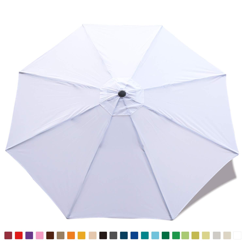 ABCCANOPY 9ft Market Umbrella Patio Umbrella Replacement Canopy 8 Ribs, Khaki White-1