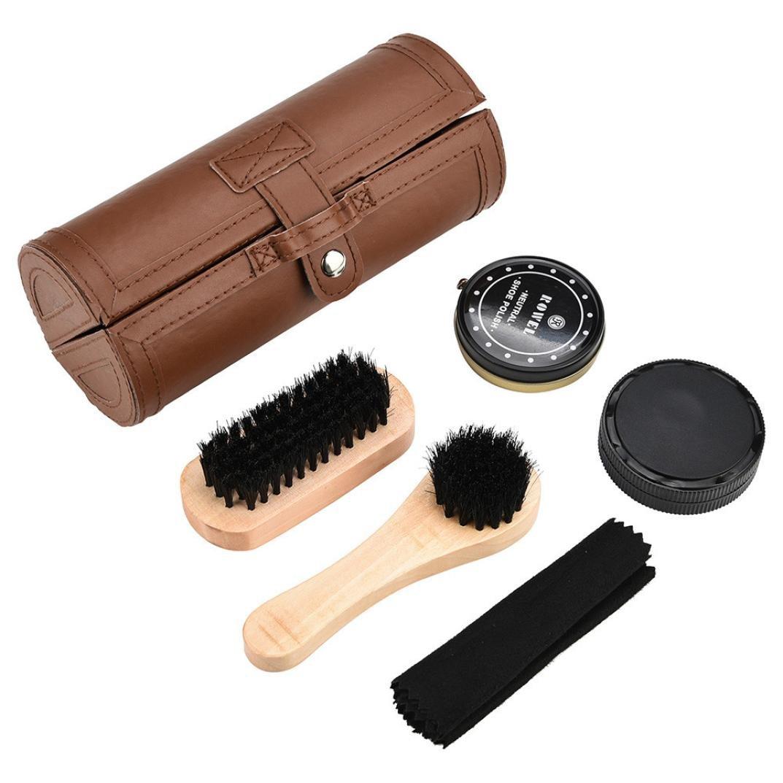 OVERMAL Shoe Shine Care Kit Polish Cleaning Brushes Sponge Cloth Travel Set With Case